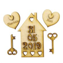 1st Home Set - 3mm MDF craft picture kit for first house hearts, names and date